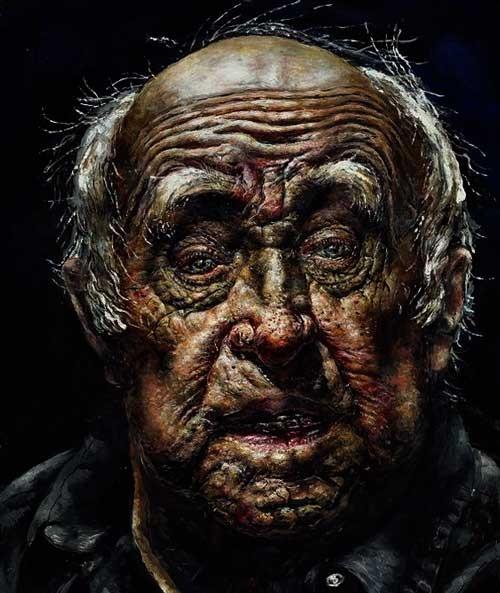 ציור ורישום רחובות-ציור פנים של אדם זקן